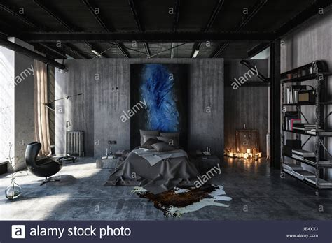 ausgefallene schlafzimmer bedroom in modern black and grey interior design in loft