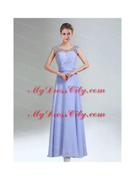 2015 modest belt empire bridesmaid dress in lavender