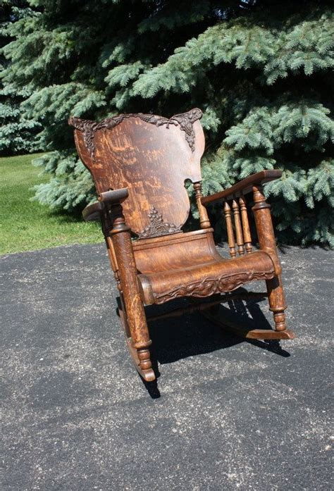 beautiful and elegant wooden chair made from curved vintage antique oak tiger wood rocking chair antiques