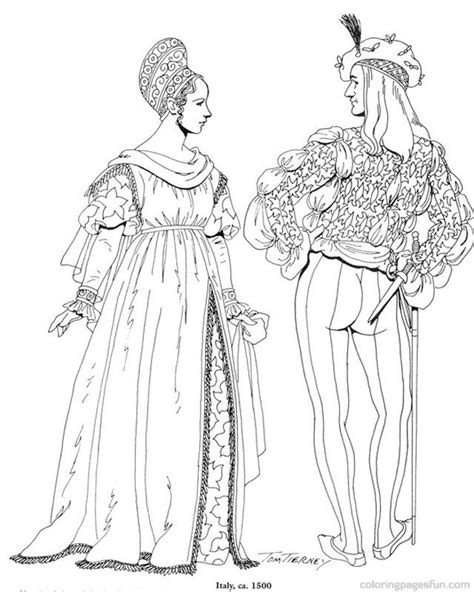 renaissance dress coloring page renaissance costumes and clothing coloring pages 16