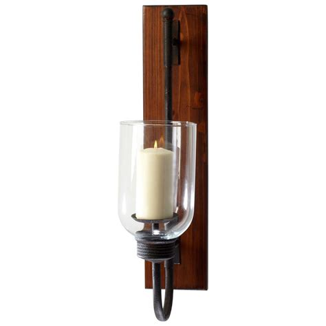 Iron Candle Wall Sconce Sydney Weathered Rustic Wood Plank Iron Hurricane Candle Sconce Kathy Kuo Home