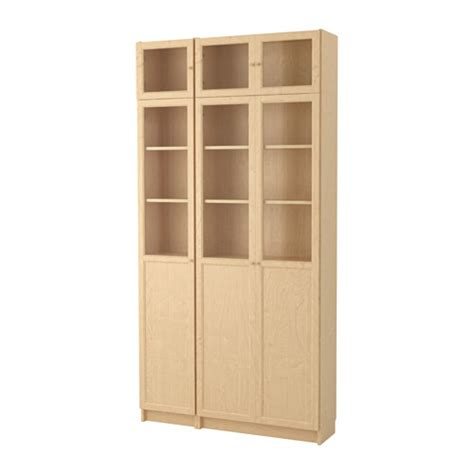 Billy Oxberg Bookcase Birch Veneer Glass Ikea Birch Bookshelves