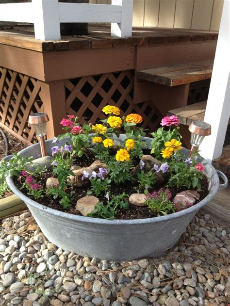 galvanized tub planter wash bins pinterest