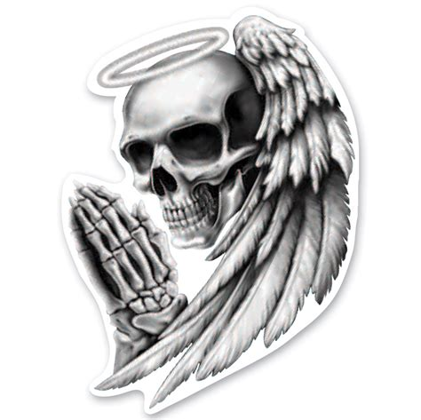 lethal threat rude amp crude angel skull mini decal 161