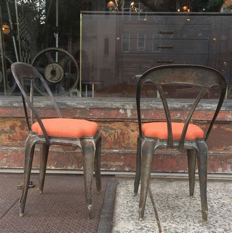 pair of brushed steel bar stools for sale at 1stdibs pair of brushed steel tolix caf 233 chairs upholstered seats