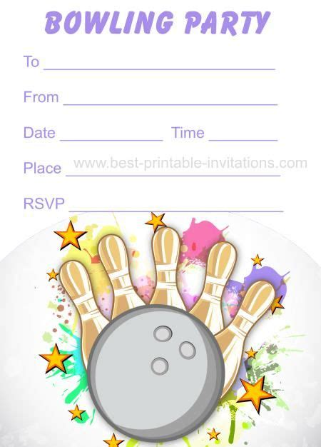 Bowling Birthday Card Template by Bowling Invitations Free Printable Birthday