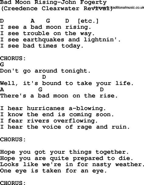 moon lyrics protest song bad moon rising fogerty lyrics and chords quot