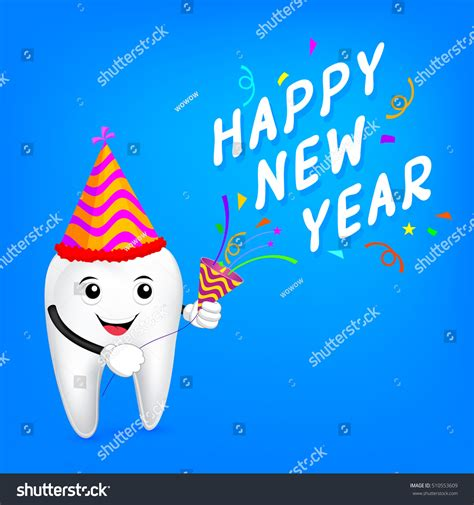 new year character images tooth character paper shoot happy stock vector