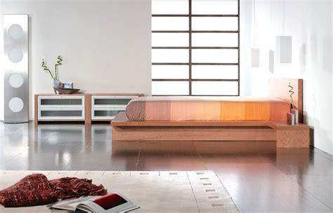 Bedroom Side View staccato bed side view in cherry finish with attached