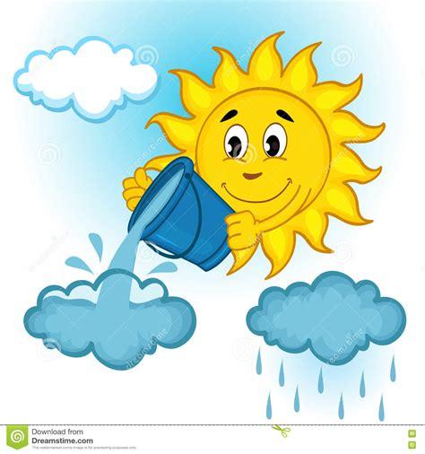 clipart pioggia sun e nuvole con pioggia illustrazione vettoriale