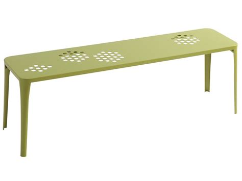 green metal bench pattern b emu bench made of metal for garden stackable