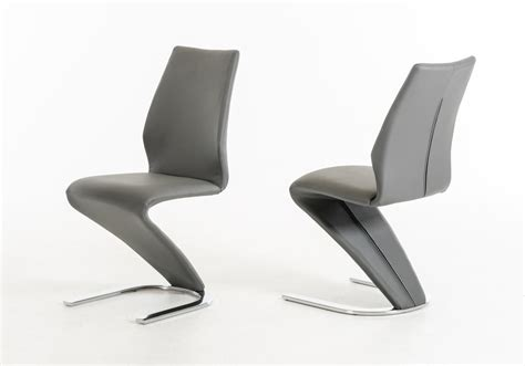 penn modern grey leatherette dining chair set of 2