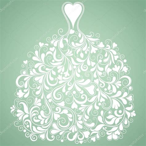 Wedding Dress Vector by White Wedding Dress Vintage Vector Silhouette Stock