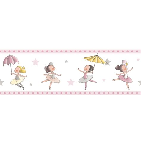 bordure kinderzimmer pink tapetenborte bord 252 re ballerina rasch textil pink 330440