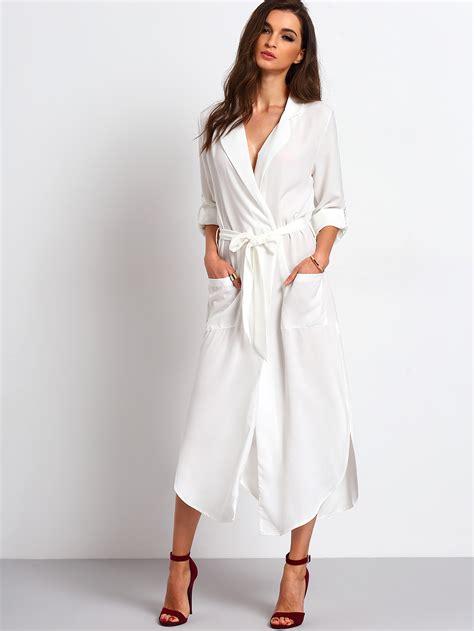 White Shirt Dress by White Belted Side Split Shirt Dress Makemechic