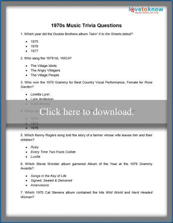 printable quizzes for children lovetoknow printable 1970s trivia lovetoknow