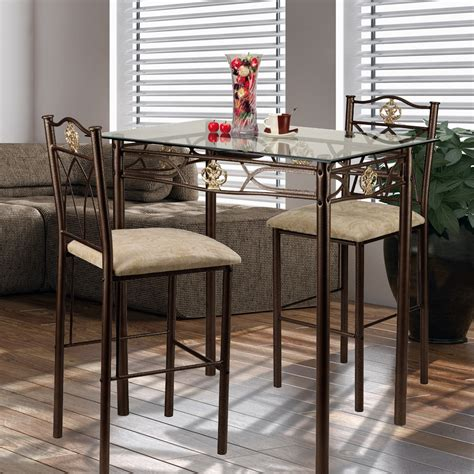 Counter Height Bistro Table Dining Table Glass Bistro Set Counter Height Pub Stools Bar Kitchen Chairs Seat Ebay