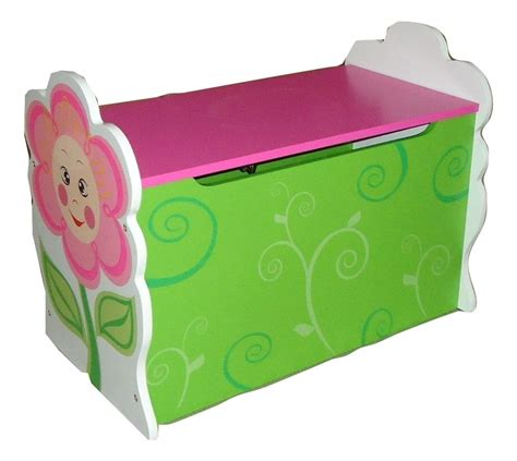 pink toy box bench girls daisy flower themed pink kids childrens wooden toy