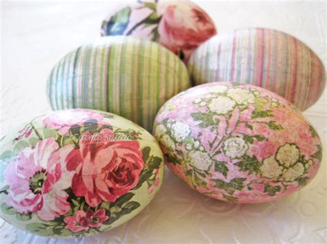 Decoupage Easter Eggs - easter eggs world pink decoupage mint green