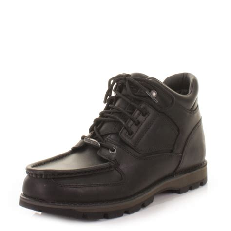 rockport boots mens rockport umbwe black leather waterproof trail ankle