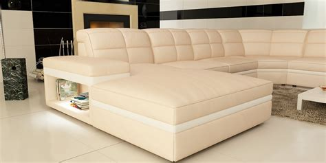 cream leather sectional divani casa 6130 modern cream and white leather sectional sofa