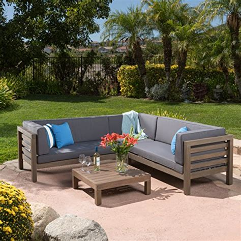 Ravello Outdoor Patio Furniture 4 Piece Wooden Sectional Water Resistant Patio Furniture