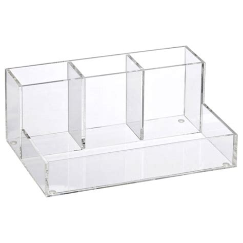 container store desk organizer 4 section acrylic makeup organizer the container store