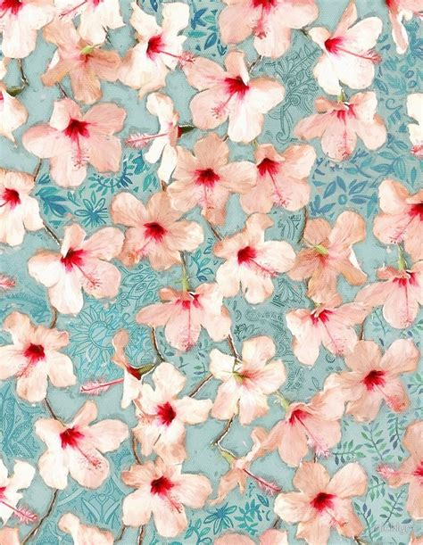 Shabby Chic Patchwork - shabby chic hibiscus patchwork pattern in mint by