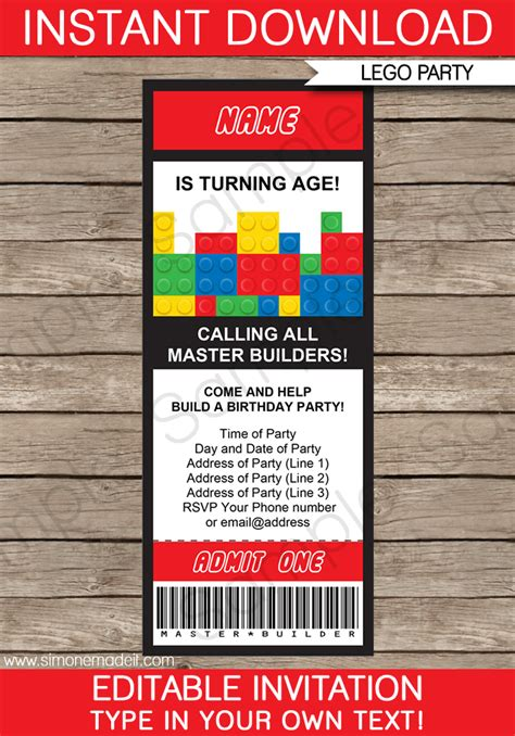ticket birthday invitation template lego ticket invitations birthday template