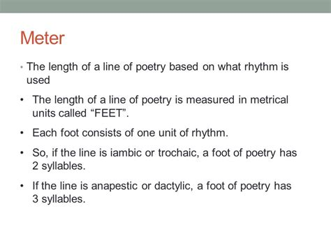 determine the pattern and name of the metrical foot used introduction to poetry ppt download