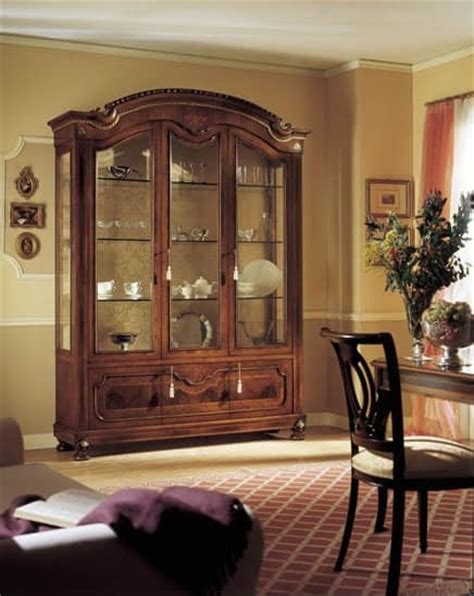 luxurious wooden carving showcase cabinet using clear traditional display with 3 doors in walnut wood carved