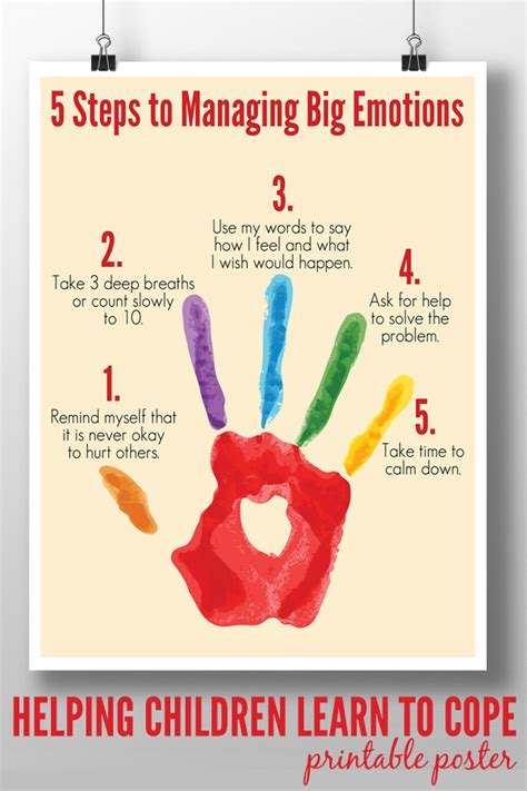 7 Procedures Its Ok To Do At Home by 5 Steps To Managing Big Emotions Printable