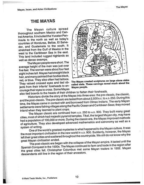Aztec Worksheets