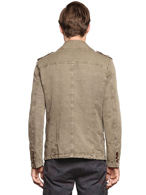 Quisha Jaket Canvas Linen Rubiah lyst corto maltese linen cotton canvas colonial jacket in for