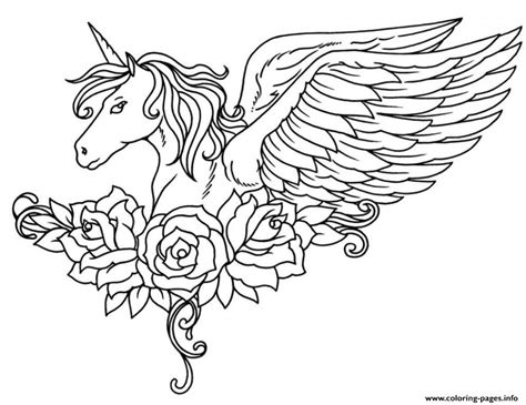 Coloring Page Unicorn With Wings by Ornate Winged Unicorn Flowers Coloring Pages Printable
