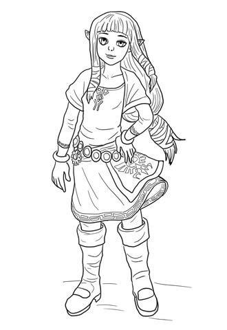 Ausmalbild: Zelda | Ausmalbilder kostenlos zum ausdrucken
