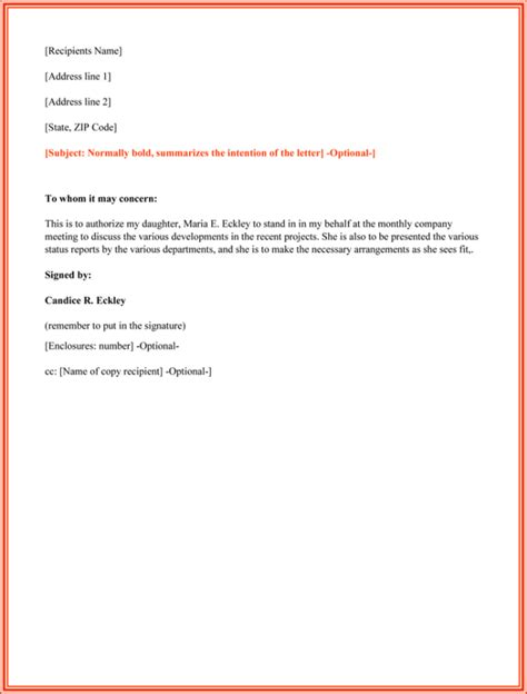 authorization letter format for signing 10 best authorization letter sles and formats