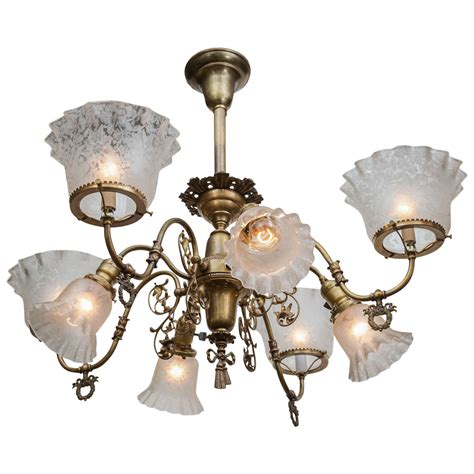 Electric Chandelier American Combination Eight Arm Gas And Electric Chandelier