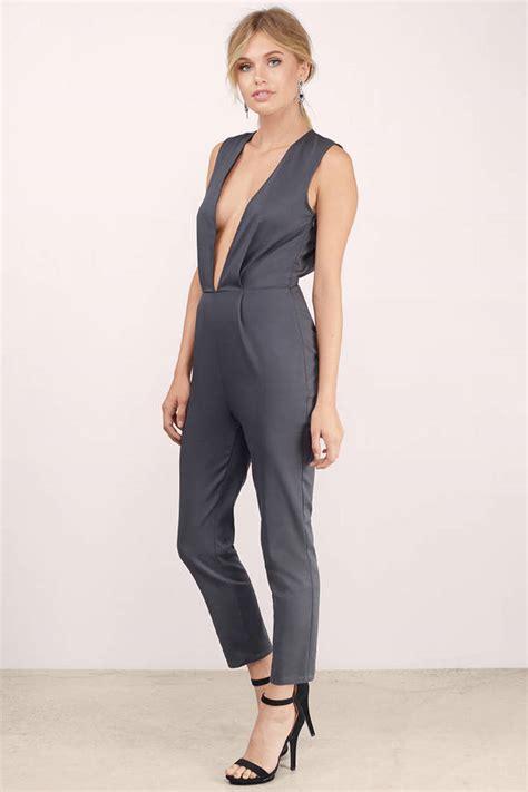 Jumpsuit Greya grey jumpsuit v neck jumpsuit tapered leg jumpsuit