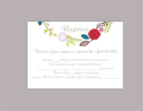 Response Cards For Wedding Template by Diy Wedding Rsvp Template Editable Word File Rsvp