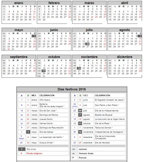 Calendario Colombiano Almanaque Colombia