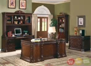Executive Home Office Furniture Sets Union Hill Pedestal Executive Desk With Leather Insert Top Shopfactorydirect Free