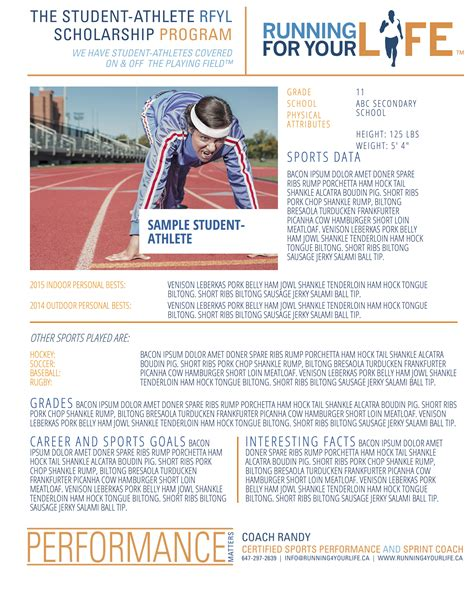 Running For Your Life Student Athlete Scholarship Program Colleges Universities Athlete Profile Template Free