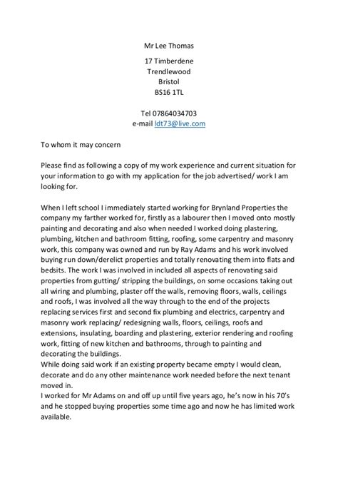 Spec Letters For spec letter of work experience fo apps