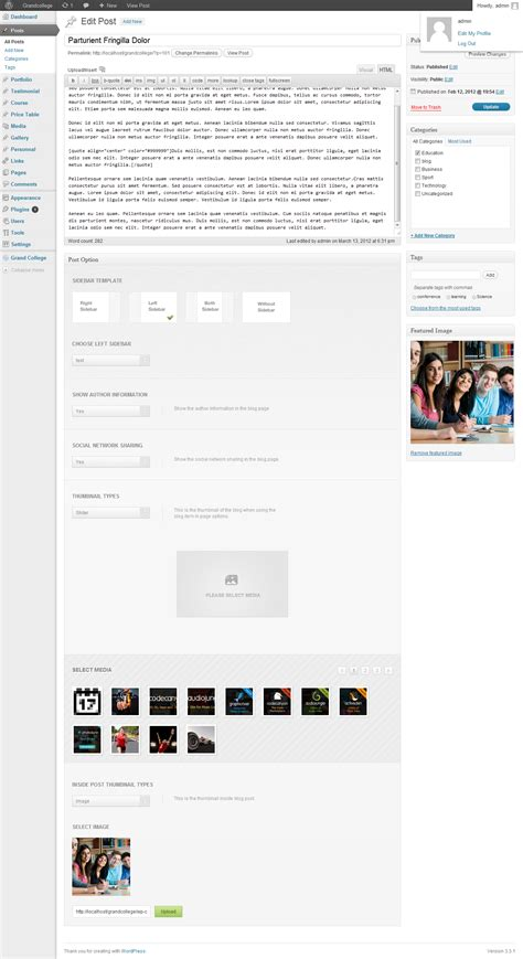 wordpress themes grand college grand college wordpress theme for education by