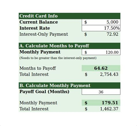 sample credit card payment calculator  documents  excel