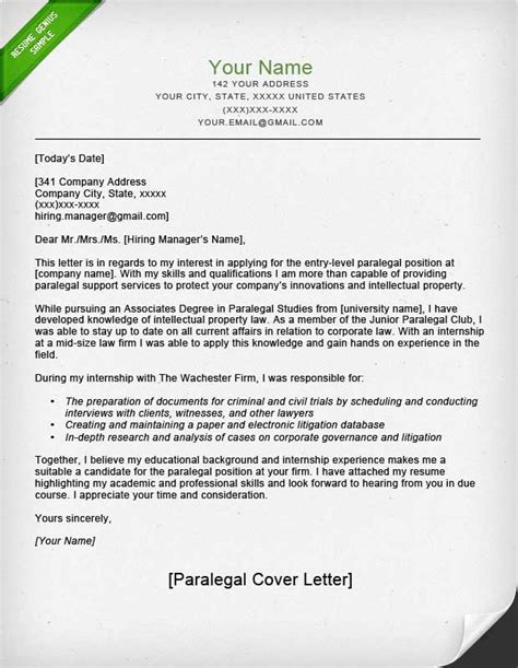 cover letter for paralegal internship paralegal cover letter sle resume genius