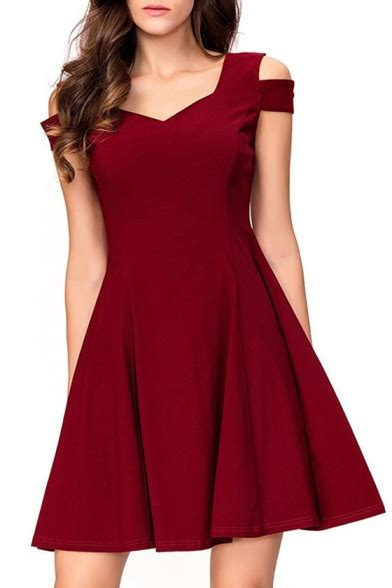 Shoulder Plain A Line Dress cold shoulder v neck sleeve plain mini a line dress