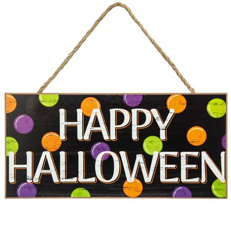 wooden sign happy halloween polka dots ap