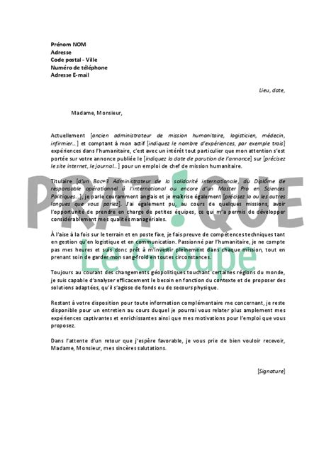 Exemple De Lettre De Motivation Ong Modele Lettre De Motivation Stage Humanitaire Document